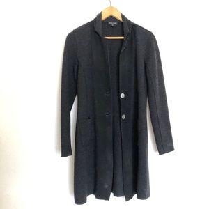 Eileen Fisher wool and leather mid length coat